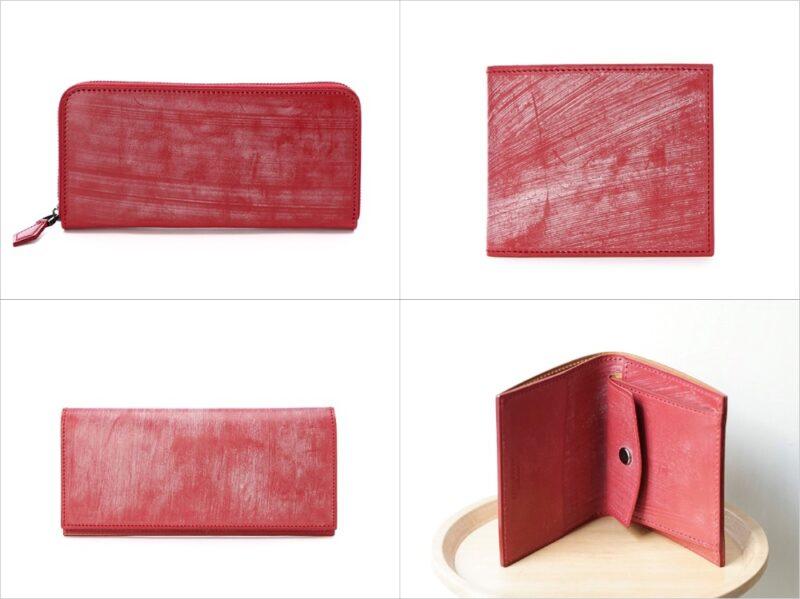 FIVE WOODS・ベーシックスレザーコレクション/ブライドルレザーシリーズの各種財布(レッド)