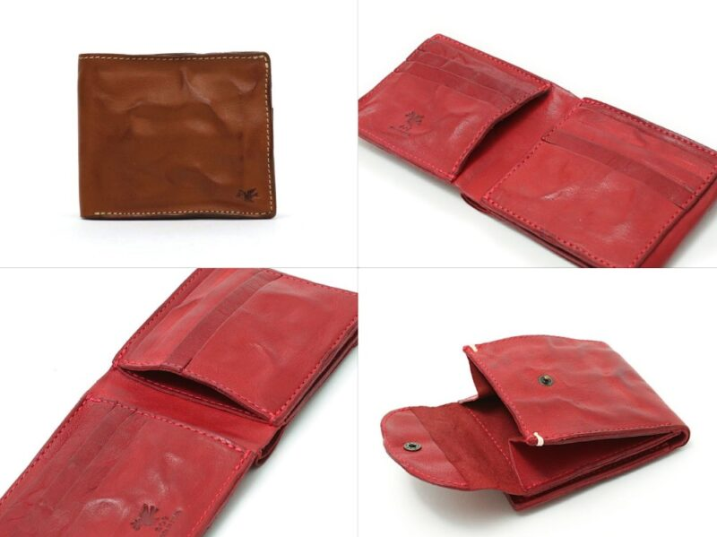 sot・ハンドウォッシュレザー二つ折り財布の各部