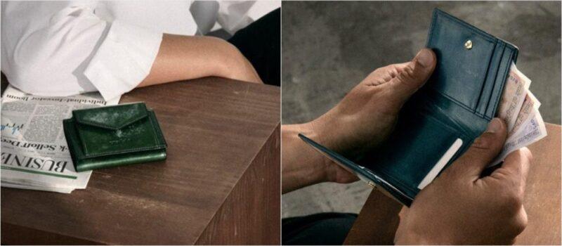 英国製ブライドルレザー三つ折り財布(クラフスト)の各部